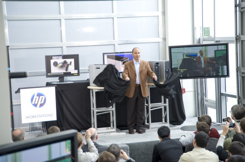 The grand unveiling of the HP Z Workstation family by Jim Zafarana, Vice President and General Manager of HP's Global Business Unit, Workstations.