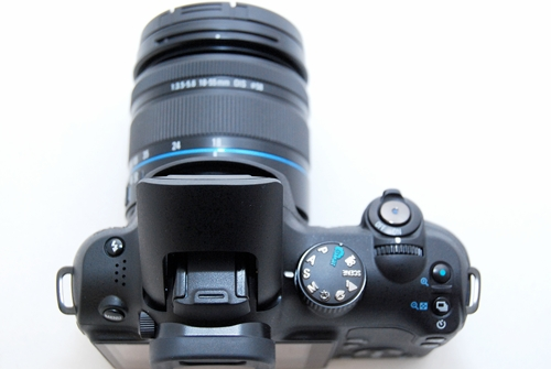 You've seen the front view, so here's a top view of the Samsung NX10.
