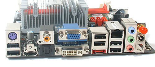 The Zotac comes with a rear I/O panel to be proud of. Optical, coaxial S/PDIF, three different video outputs, eSATA, Gigabit LAN and even a wireless antenna (the red covered bit). The only compromise is probably in the audio jacks, which is not a big deal given the digital audio options. A DC-in completes the setup.