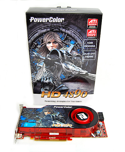 The PowerColor HD 4890's package is more conservative. Fronting the box is PowerColor's warrior babe, who seems to be looking angrier with each subsequent release.