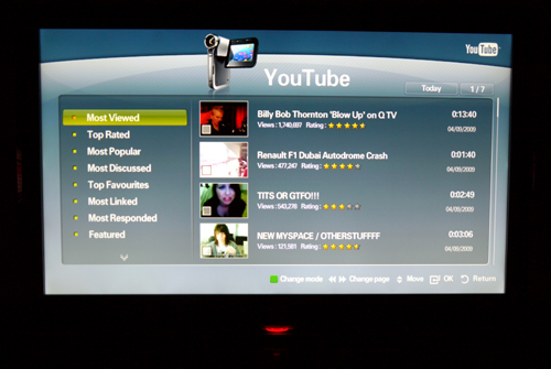 You'll need to install the YouTube service or widget before you can begin to savor any YouTube videos on the B7000.