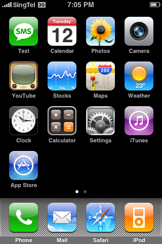 The Main Screen is where you will be most of the time to access the functions within your iPhone 3G.