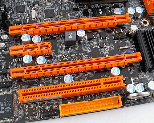 On paper, there are two PCIe 2.0 x16 slots supporting CrossFireX. However, even if you only have one graphics card installed, that single card will be running at x8 and not the x16 that's expected from the chipset. When you have two graphics cards however, you will get the usual pair of x8 configuration.