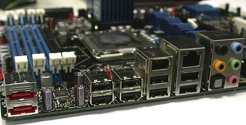 The rear connectors found on the Intel DX58SO motherboard. As you may expect, legacy ports are nonexistent.