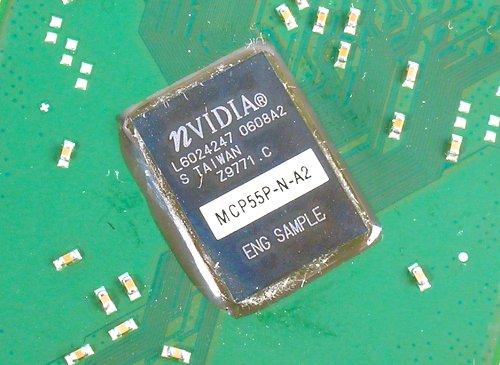 Under the heatsink on the board was the single chip nForce 570 SLI MCP.