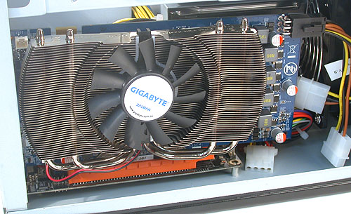 Our dual-slot graphics card took up both available expansion slots but there was ample space for it length-wise.