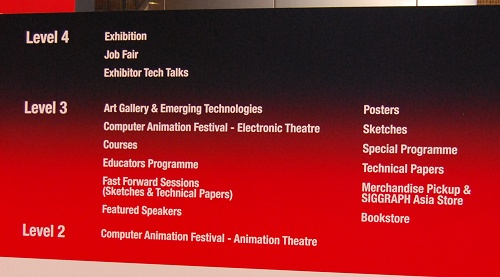 The various activities that were taking place at the SIGGRAPH Asia conference.