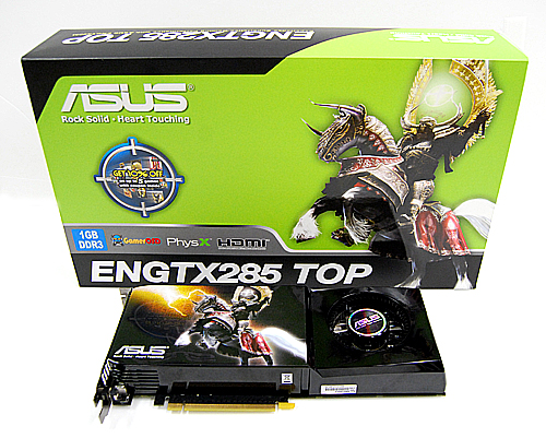 Not to be outdone, the ASUS ENGTX285 TOP comes in an equally big box, featuring what looks like a Death Knight with gold wings, which is rather apt, we suppose.