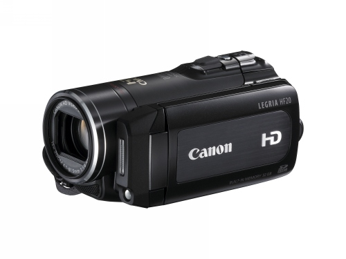 The Canon LEGRIA HF20 with built-in 32GB memory.