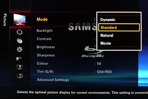 "The GUI on the B7000 is notably different from earlier Samsung models. Four different color presets are available, including the ""Dynamic"" option for brighter ambient environments."