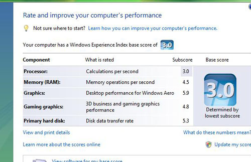A Windows Experience Index of 3.0 is the exact same score that we saw for the NVIDIA Ion engineering prototype previously. The Intel Atom processor is as expected the weakest link here.