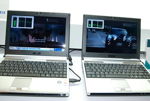 Here we see a pair of almost identical looking 12-inch MSI notebooks. The one on the left is the existing PR-210 running on current generation hardware, but the one on the right is the newer PR-211 using the new Puma platform. In particular, this comparison is highlighting how much lower CPU utilization is on Blu-ray playback.