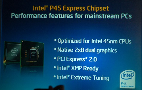 Here's a slide to give you a quick rundown of what the Intel P45 brings to the table. For Intel, the strategy is to try an propagate some of the technologies on the high-end, to be made available to the mainstream segment as well, leaving the X48 for real enthusiast users only for the very best certification like 1600MHz FSB, 1600MHz DDR3, and dual PCIe x16 interfaces. Another highlight for the P45 and the new Series-4 is that they are using the 65nm process technology versus 90nm for the older chipsets.