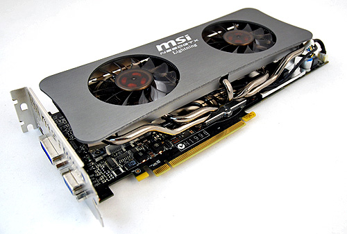 The most eye-catching thing about the card is undoubtedly the dual-fan Twin Frozr cooler. It sports two large 70mm fans and cooling is further aided by not two or three, but five heat pipes!