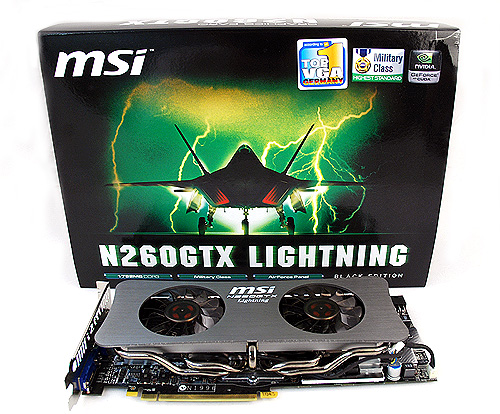 The packaging, featuring what seems to be a F-22 Raptor fighter jet, further reinforces the N260GTX Lightning's military background.