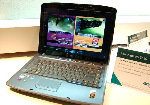 The Acer Aspire 5530 is similar to the ASUS M51Ta, a Puma platform notebook with a discrete mobile Radeon HD 3450 graphics in Hybrid CrossFire mode.