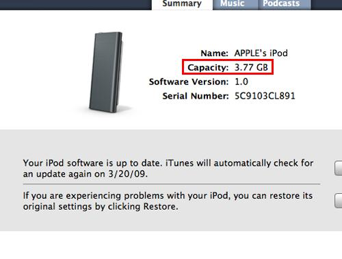 Even before we dumped any of our favorite tracks onto the iPod shuffle, we noticed that it's not exactly a full 4GB that you get as indicated. Nonetheless, the missing capacity is probably utilized for its firmware or the VoiceOver feature which holds mini audio clips to announce the track being played.