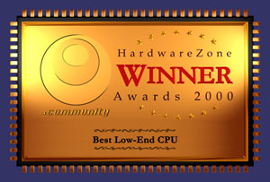 Taking the low-end segment as well was AMD's Duron in our Hardware Zone Awards.