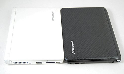 Original Lenovo S10 on the left and the newer S10-2 on the right. Gone are the angular edges; instead the S10-2 goes for a more curved look and feel that reminds us of the HP Mini 1000.