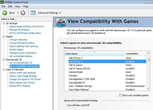 Using NVIDIA Control Panel, you can activate and deactivate 3D Vision and also check up on the compatibility of games.