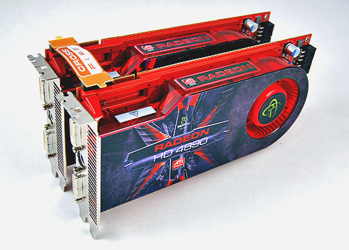 To simulate the performance of a Radeon HD 4890 X2, we put these two XFX Radeon HD 4890 cards in CrossFireX. This gives us 1600 stream processors, 2GB of DDR5 memory and over 2.6 teraFLOPS of pure computing power. Is this enough to challenge the GeForce GTX 295? Read on to find out!
