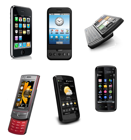 Apple iPhone 3G, HTC Dream, Sony Ericsson Xperia X1, Nokia 5800 XpressMusic, HTC Touch HD, and the Samsung UltraTOUCH.