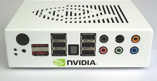Being an engineering sample only, NVIDIA has spared nothing in cramming it full of I/O ports. Here we find 6 USB 2.0 ports, 2 eSATA, audio jacks and an optical S/PDIF. And amidst all this, the black button acts as the power/reset switch, with a small BIOS reset button below it too.