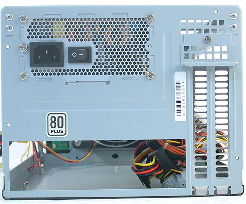The rear of the chassis shows the two expansion slots available and advertises the 80 PLUS certification for the included power supply.