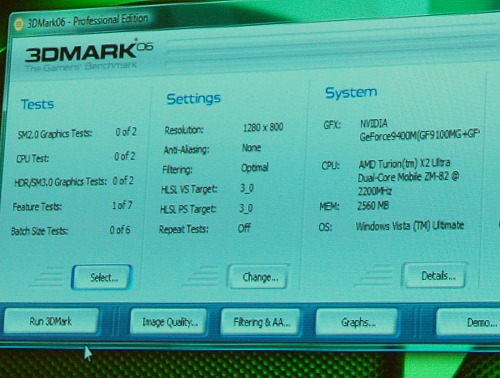 In a Hybrid SLI demo shown to us, NVIDIA used a notebook with this configuration that uses a new GeForce 9100 mGPU with a GeForce 9300M GS discrete graphics (which in combination gives performance similar or better than a GeForce 9400M.