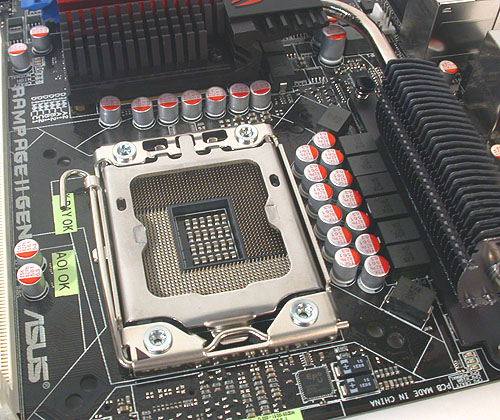 ASUS has implemented an 8-phase CPU power design on the Rampage II Gene, with additional (not shown here) 2-phase power for the QPI/DRAM, NB and memory.