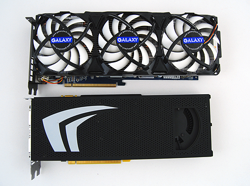 A reference GeForce GTX 295 is already a very large card, but look at how the Galaxy GeForce GTX 285 OC with AC Edition dwarves it! Potential buyers should make sure that their casings can accomodate this behemoth of a graphics card.