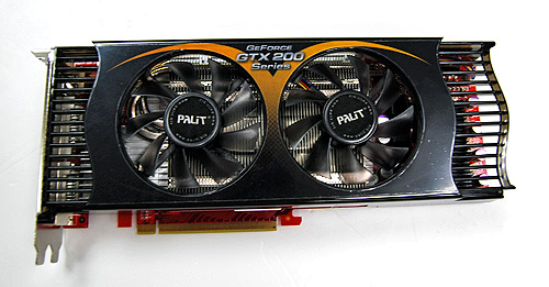 The Palit GTX 260+ employs what seems to be a twin-slot version of the very same cooler than was used in the triple-slot Revolution 700.