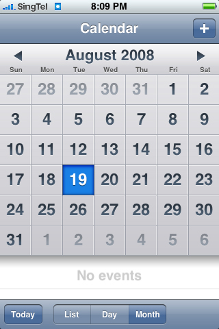 Calendar entries are sorted out by Day, Week & Month for quick looks at your upcoming appointments.