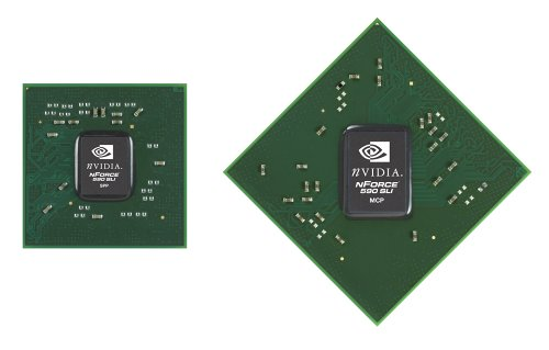 NVIDIA has refreshed its entire nForce core logic line-up and the nForce 500 series is looking to extend NVIDIA's lead in the chipset market. Shown here is the nForce 590 SLI MCP and SPP chipset.