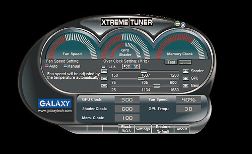 This is the XtremeTuner overclocking utility that was bundled with the card. It's pretty basic and it would have been much better if it allowed you to tweak the card's various voltage settings.