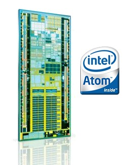 The die shot of the Intel Atom core processor.