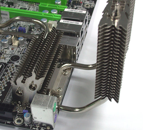 An extreme example of a large passive motherboard cooler from DFI.