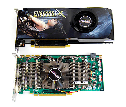 The shortness of the new GeForce GTS 250 becomes apparent when placed alongside a GeForce 9800 GTX. It is still a rather sizeable card though, so you can forget about trying to squeeze it into your HTPC.