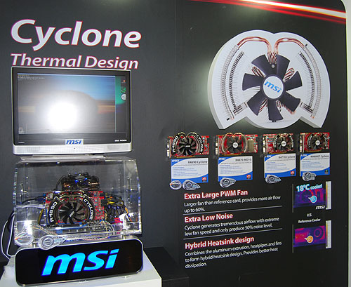 The other thrust of MSI's strategy for its graphics cards is in the form of cooling, with this large 'Cyclone' fan a key example.