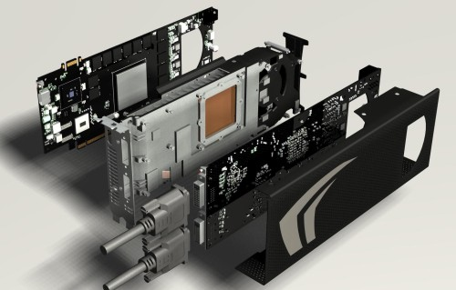Here's a good look at how the GeForce GTX 295 pieces together.