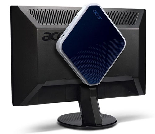 If you like a clean desk, you can actually mount the AspireRevo to any LCD monitor with the standard VESA mounting brackets. The AspireRevo in fact is designed such that you can access all the necessary ports even when mounted in this manner.