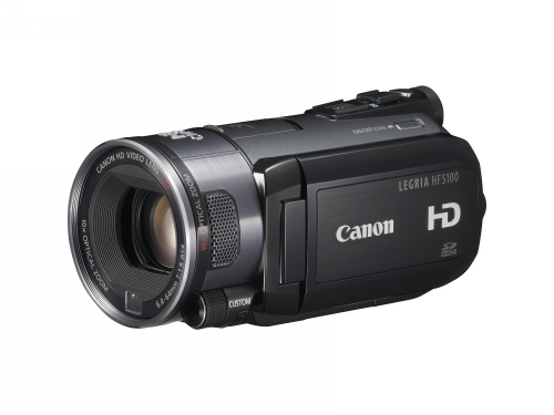 The Canon HF S100 records to removable memory.