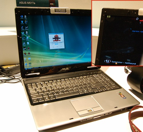 And this is the ASUS M51Ta, which is also a Puma platform notebook with the same Turion X2 Ultra processor, AMD M780G chipset, but the difference is that this model comes with a discrete mobile Radeon HD 3450 graphics and is running in tandem with the M780G's IGP in Hybrid CrossFire mode. As seen in the inset, the notebook averages past 60FPS and in very taxing segments, it dips to the 40s range, which is still twice as fast as just relying on the IGP alone.