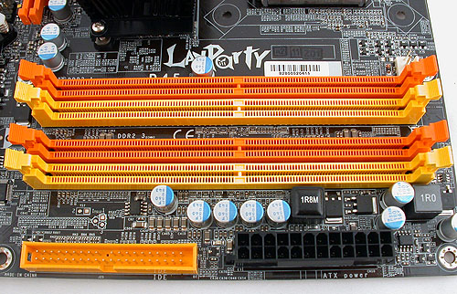 The typical 4 DIMM dual-channel slots supporting up to DDR2-1066. Users can install up to 8GB of memory on this board.