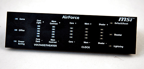 The AirForce Panel allows users to overclock the card on-the-fly, and also allow users to change profiles quickly to suit their usage.
