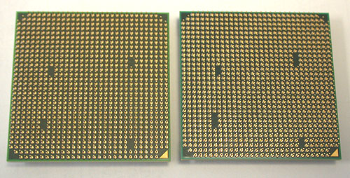 The only physical difference that we saw to distinguish between an AM2+ and an AM3 socket processor lies in the pins. Or rather the lack of. If you look closely enough, the AM3 CPU (on the right) has a larger gap of three pins at the 'holes', compared to two on the AM2+ version.