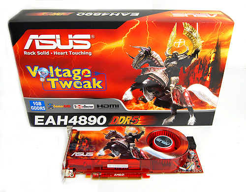 The ASUS EAH4890 came in box of fiery thunder, flames, cinder, and even features a Black Knight with wings, no less!