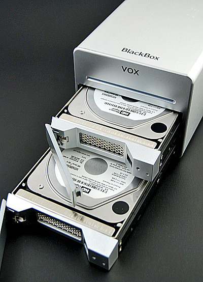 One good thing about the Blackbox is that it comes right out of the box with two 500GB Western Digital Caviar hard disks.
