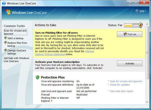 Windows Live OneCare is a new add-on product that consists of anti-virus and phishing filter functionality from Microsoft. Note that this is not bundled with Windows Vista, but it can be purchased separately online.