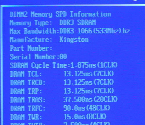 Taking its name from the ubiquitous CPU-Z, the MSI P45D3 Platinum has its own Memory-Z utility to display information about the RAM installed in its DIMM slots. However, it doesn't seem perfect at the moment, as it mistook our DDR3-1333 RAM for 1066.